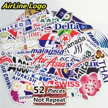 New Style 52Pcs Airline Logo High Quality Stickers Aviation Travel Trip For Suitcase Laptop Decal Fashion DIY Waterproof Sticker