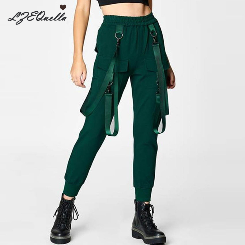 Women Streetwear Trousers Cargo Pants Safari Joggers Black Loose Female Trousers Harajuku Spoof Ladies Pants Capri