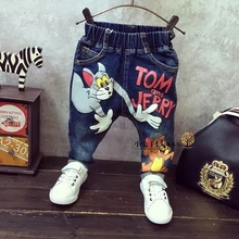 Buy Baby children jeans 2017 spring cartoon tom&jerry print boys pants girls denim full length long kids trousrs for $10.96 in AliExpress store