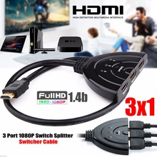 3 Port HDMI Splitter Cable 1080p Multi  Switch Switcher HUB Box LCD HDTV For PS3 For Xbox