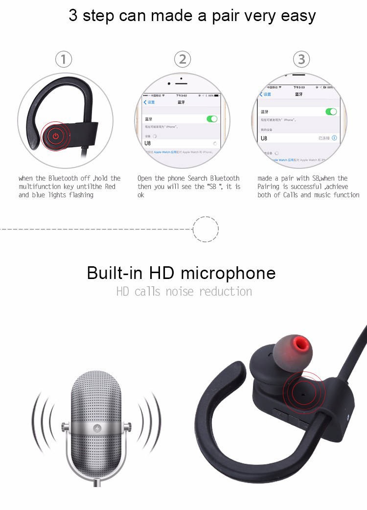 Betreasure BH06 Bluetooth Sport Earphone Handfree Wireless Bluetooth Headset Earphones With Mic Ear-hook Headphone PK U8 56S