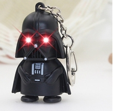 Free Shipping Star Wars Keyring Light Darth Vader Pendant LED sound KeyChain For Man Gift,LED Flashlight keyring,car keychain(China)