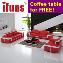 IFUNS modern leather sectional sofa set living room furniture genuine leather luxury sofa sets 1-2-3 big house (fr)