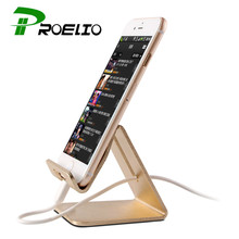 Proelio Universal Aluminum Metal Desktop Phone Stand Holder For iPhone 6 S 7 Plus For Samsung Xiaomi Tablet Car Holder Stand(China)