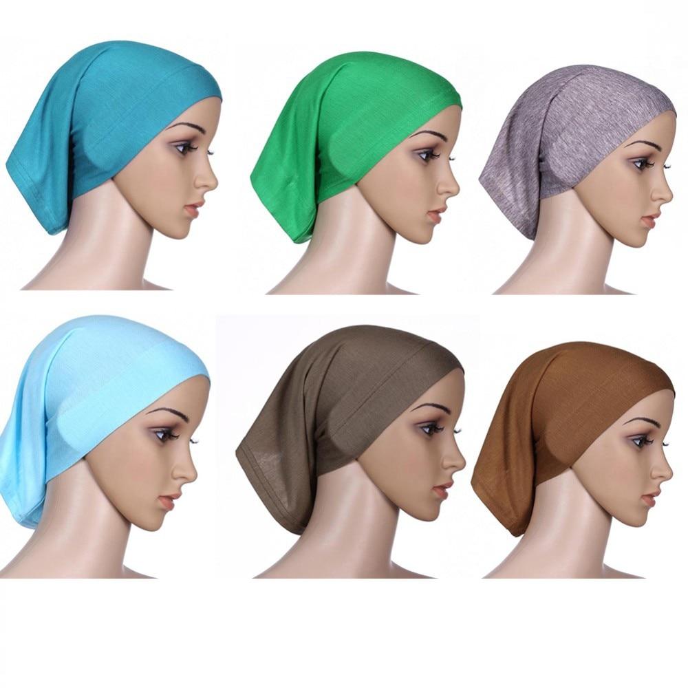 ROPALIA Women Fashion Islamic Hijab Cap Scarf Tube Bonnet Hair Wrap Female  Colorful Head Band 1