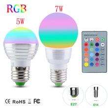 Dimmable RGB LED Bulb light E27 E14 Christmas Holiday Decor Lamp 5W 7W AC110V 220V  Soptlight Night light+IR Controller