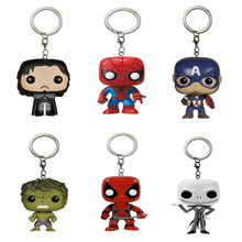 Marvel Funko Pop Game of Thrones Super Hero Keychain Deadpool Captain America The Walking Dead Action Figure