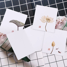 Vintage Ink Painting Lotus Kraft Paper Greeting Postcards Wishes For DIY Festival Greet Cards Gift Stationery School Supplies