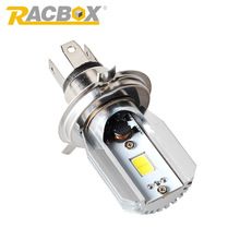 Racbox Play&Plug H4 LED Motorcycle Headlight Bulb COB Motor DC10-30V MotorBike Fog Lamp Light Moped Scooter Hi/Lo Beam Bixenon