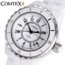 COMTEX Women's Watches White Ceramic Wristwatch Quartz Calendar Waterproof watchbands Ladies dress watch for women clock reloj