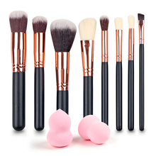Mileegirl New 8Pcs Rose Gold Makeup Brushes beveled Eyeshadow Eyebrow Powder Brush +2pcs Sponge Puff For Gift Makeup Brush Set(China)