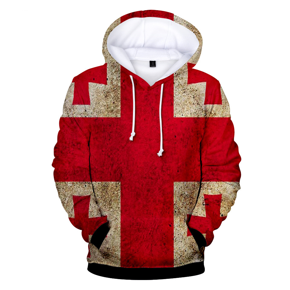 Mens Hoodies Georgian Flag Funny Pullover Hooded Print Sweatshirt Jackets
