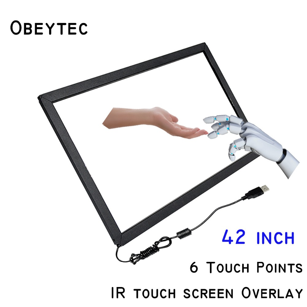 "Obeytec 42"" IR Touch Overlay, 6 touches, Easy Assembly, USB port , Driver free Support Windows/ Linux/ Android/ Ubuntu"