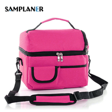 Buy Samplaner Double Decker Lunch Bags Men Women Insulated Thermal Cooler Lunchbox Bag Removable Shoulder Strap Food Picnic Bags for $8.71 in AliExpress store