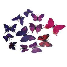 11.11 hot sale 12PCS mirror Wall Stickers Home Decor Room 3D Butterfly Magnetic DIY Wallpaper bedroom accessories New Year 2017
