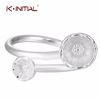 1Pcs Hot 2017 Korean Style 925 Silver Daisy Flowers Rings For Woman Adjustable Flower Ring Jewelry Finger Gift Drop shipping