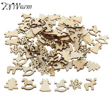 KiWarm 100Pcs Natural Color Tree Snowflake Wooden Ornament Scrapbooking Embellishments Christmas Party Decor Wood Craft 20-22mm