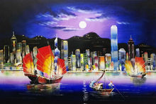 Hot Sale Hand Painted  Modern Knife Canvas Oil Painting Hong Kong City Night Landscape  Wall Pictures for Living Room