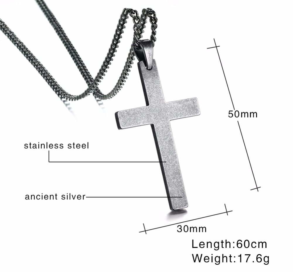 Large Mens Antique Silver Color Cross Pendant Necklace Stainless Steel Men Vintage Jewelry Christian Jesus Lord Prayer Choker Collier 13