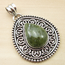 "Silver Plated Over Solid Copper ! GREEN JADE Pendant 1.9"" ONLINE STORE"