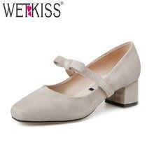WETKISS New Spring Women Pumps Square Toe Med Heels Butterfly Knot Flock  Footwear 2018 Brand Sweet Ladies Dress Shoes Big Size f93ea83e2025