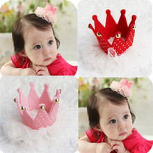 2015 New Style Girls Gauze crown hair clipsSouth Korea pop girl cshining crown hairpin kids hair accesories 10ps/lot(China)