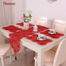 banquet tablecloth round table traditional chinese styles red wedding tablecloth rectangular luxury table linen placemats cupmat(China)