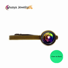 Camera Lens Tie Clip Glowing S&Y 2017 New Fashion Silver Color Glass Tie Clips & Cufflinks Glow In Dark Gold Color Tie Clip(China)