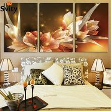 Free Shipping Canvas Painting Wealth and luxury golden flowers 3 Piece Art Picture Home Decor On Canvas Modern Painting(China)