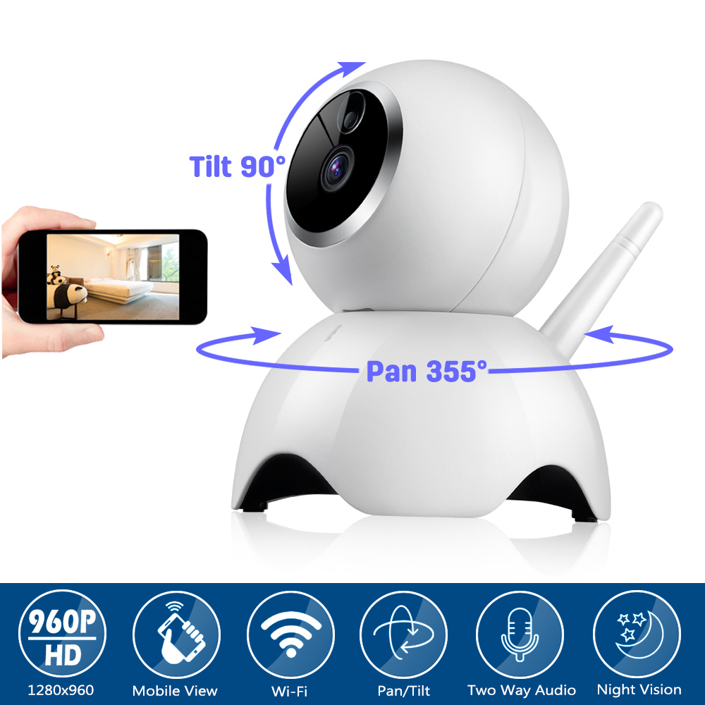 Mini CCTV Security Surveillance Wireless 720P 960P IP Camera Baby Monitor Pan/Tilt 2 Way Audio Motion Detection IR Night Vision<br>