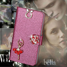 Luxury PU Leather Wallet Case For Philips S301 S308 Flip Cover Shining Crystal Bling Case with Card Slot & Bling Diamond