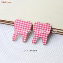 "(100pcs/lot) 30mm Baby Shower Tooth Decorations-Blue Checked  Fabric Topper Wood Back Bulk 1.2""-CT1224C"