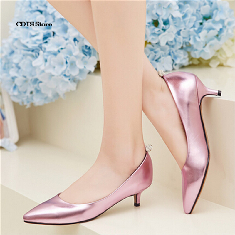 CDTS Gold/Silver spring pointed toe single shoes thin heels rhinestone ball shallow mouth low-heeled Flats small yards:32 33-43<br><br>Aliexpress