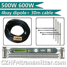 500w 600w FM Broadcast Radio Transmitter + DP100 1/2 wave four bay dipole antenna + 30 meters cable with connectors