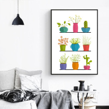 Pot Plant Canvas Art Print Poster,  Wall Pictures for Home Decoration, Giclee Print Wall Decor S16024