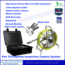 58mm 60 meter cable pan tilt rotation pipe inspection camera 15 inch monitor meter counter keyboard rotate endoscope borescope