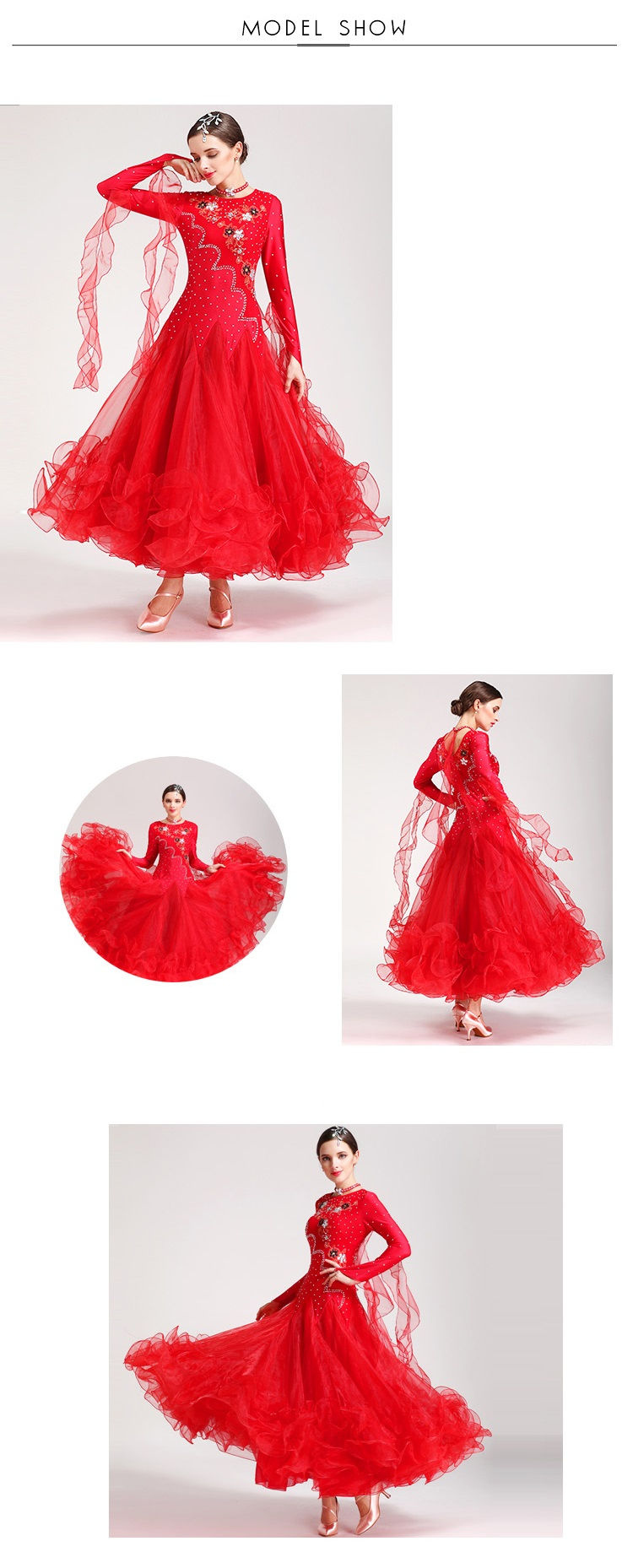 New Ballroom Competition Dance Costume Women Tango Flamenco Waltz Steps Diagram 1 2 3 4 5