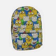 2016 Canvas Printing Anime Adventure Time Backpack Teenage Boys Girls School Bags Teenagers Mochila Feminine Bagpack