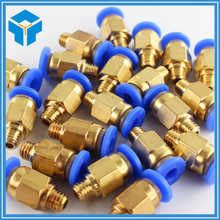 5Pcs 3d printer Pneumatic Fittings PC4-M6 Bore 4.3mm For 4mm PTFE Tube connector Coupler