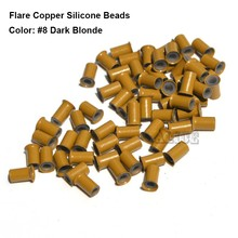 Flare Silicone Copper Micro Links 3.4*2.0*6.0MM Dreadlocks Blonde Micro Ring Silicone Hair Extension Beads Hair Braid Rings(China)