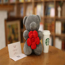 Children Plush Toys 26cm Animals Bear Plush Stuffed Bear Toy Doll grey Color rose flower Bear Wedding Bouquet GIFT TOY DOLL(China)