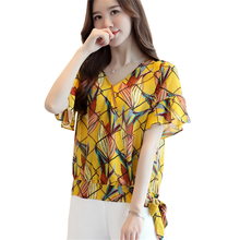 Buy Blusas Summer Tops Women Clothing 2017 New Blouse Short Flare Sleeve V-Neck Bow Women's Blouses Floral Print Chiffon Shirts for $10.19 in AliExpress store