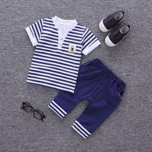 2017 Summer new fashion baby boys clothes set cotton material with striped print infant clothing set A002(China)