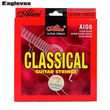 Classical Guitar Strings Clear Nylon Silver-plated Copper Alloy Wound 028-043 inch Alice A108 series