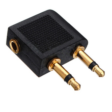 1pc 2X 3.5mm to 2 x 3.5 mm Stereo Ear Audio Adapter Jack to Air Aircraft Airline Airplane for Headset Headphone(China)
