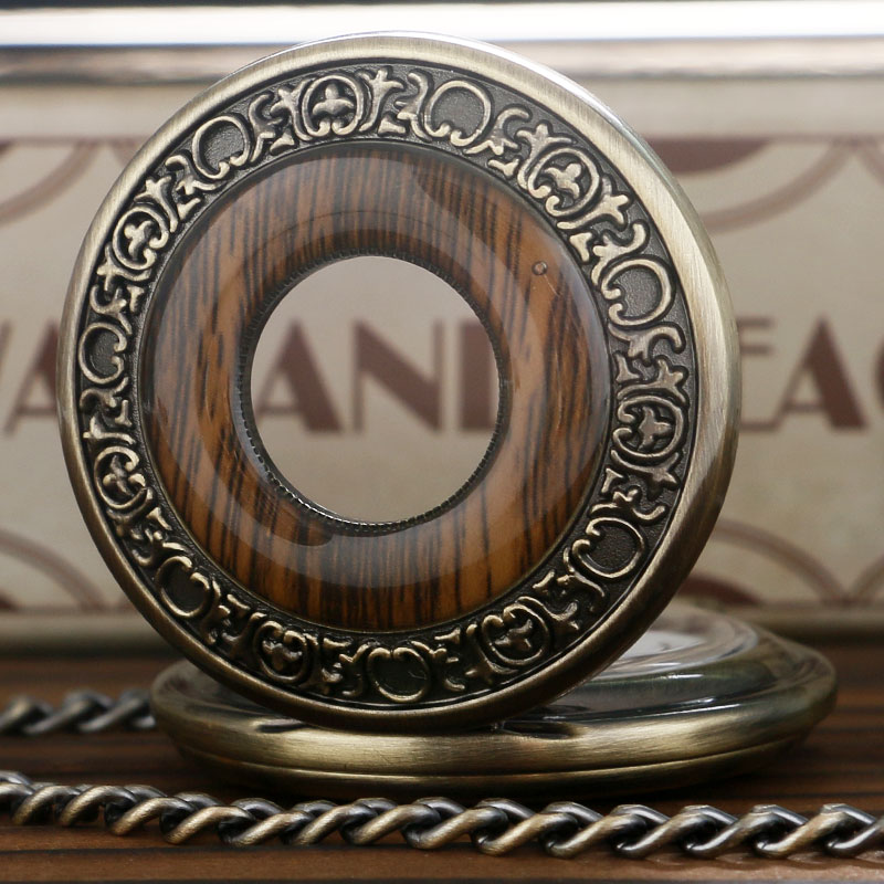 Vintage Wood Round Case Pocket Watch Luxury Quartz Analog Half Hunter for Men Women Fob Wooden Watch with Chain Gift Bag Ulzzang 2017 (8)