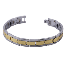 "1pcs Mens10MM Titanium Magnetic Therapy Link Bracelet Negative Ion Germanium Power Health Wrist Band 8.5"" Golden Silver Tone(China)"