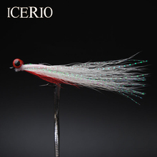 ICERIO 10PCS #4 Dumbell Eyes Red/White Crazy Charlie Fly Bonefish Redfish Flies Fishing Lure Clouser Deep Minnow Saltwater Fly(China)
