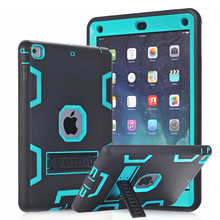 Hybrid Armor Case For iPad Air 1 Kids Safe Shockproof Heavy Duty Silicone Rubber Hard Case Cover w/Screen Film & Stylus Pen