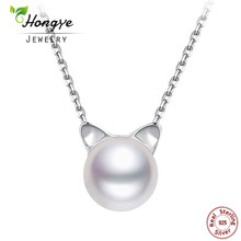 Hongye Fashion Natural Freshwater Pearl 925 Sterling Silver Cute Cat Necklaces & Pendants For Women Collier Femme Bijoux Gifts(China)